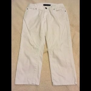 Calvin Klein White Capri jeans with stud pockets.